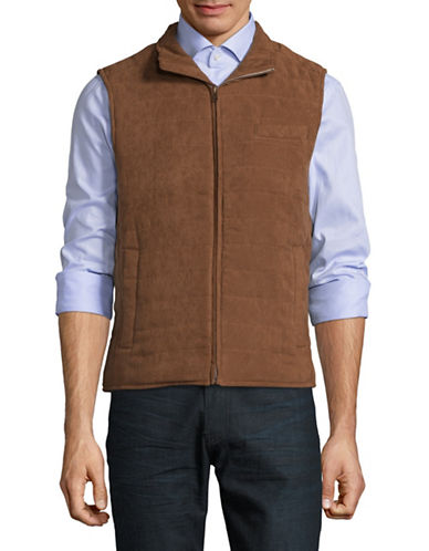 Black Brown 1826 Quilted Micro Suede Vest-BROWN-Small
