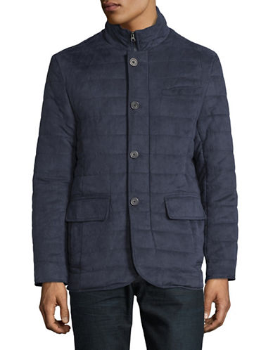 Black Brown 1826 Quilted Micro Suede Jacket-NAVY-Small