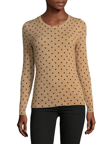 Lord & Taylor Petite Polka Dot Sweater-CAMEL HEATHER-Petite X-Small