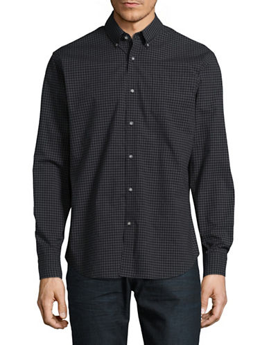 Black Brown 1826 Gingham Sport Shirt-BLACK IRIS-Medium