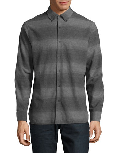 Black Brown 1826 Gingham Brushed Twill Shirt-GREY-Large