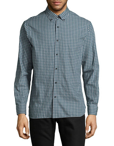 Black Brown 1826 Gingham Brushed Twill Shirt-GREEN-X-Large