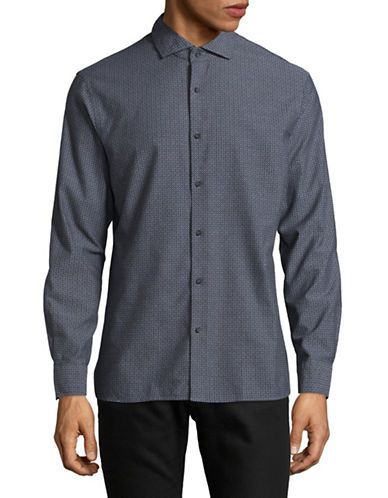 Black Brown 1826 Stitched Twill Shirt-GREY-Medium