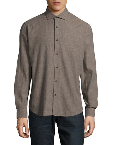 Black Brown 1826 Brushed Twill Sport Shirt-COPPER-Small