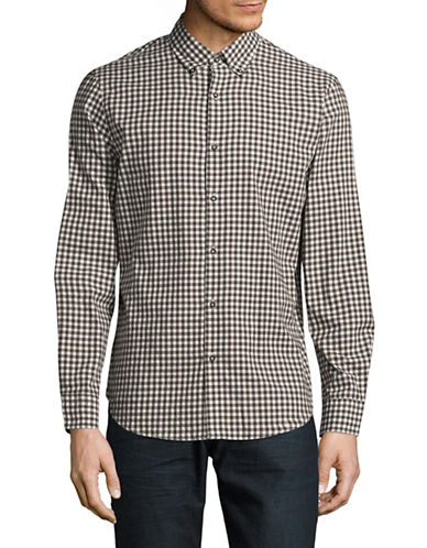 Black Brown 1826 Cotton Gingham Sport Shirt-MEDIUM BROWN-Large