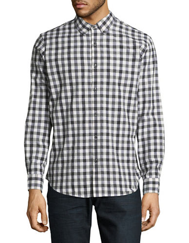 Black Brown 1826 Cotton Gingham Sport Shirt-CHARCOAL-Small