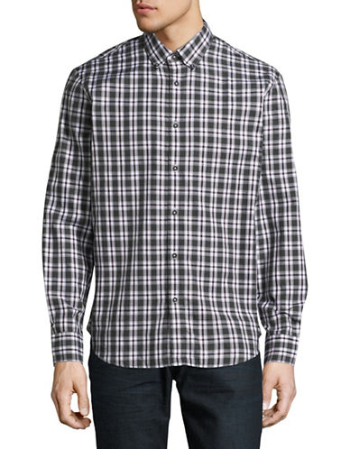 Black Brown 1826 Cotton Gingham Sport Shirt-BROWN-Large