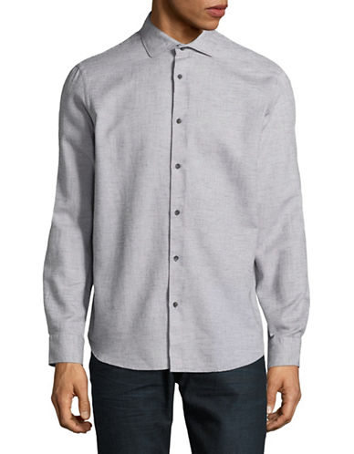 Black Brown 1826 Brushed Twill Sport Shirt-GREY-XX-Large