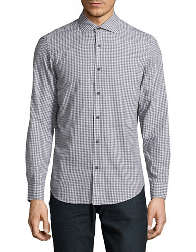 Black Brown 1826 Brushed Twill Sport Shirt-LIGHT GREY-Medium