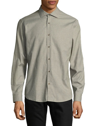 Black Brown 1826 Brushed Twill Sport Shirt-BROWN-Large
