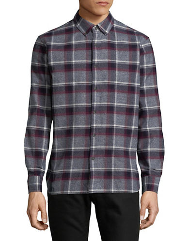Black Brown 1826 Plaid Cotton Sportshirt-RED-Small