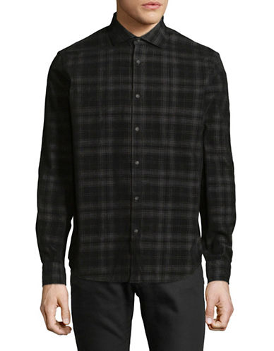 Black Brown 1826 Chambray Cotton Sportshirt-BLACK-Small