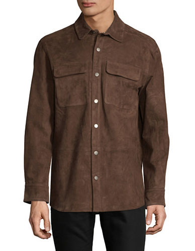 Black Brown 1826 Napa Suede Sport Shirt-DARK BROWN-X-Large