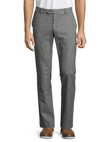 Black Brown 1826 Cotton Tailored-Fit Pant-CHARCOAL-34X30