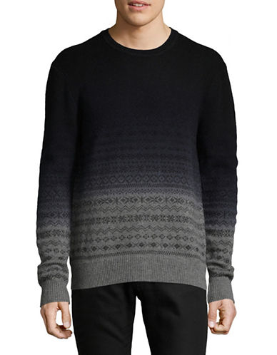 Black Brown 1826 Dip-Dyed Crew Neck Sweater-GREY HEATHER-Large