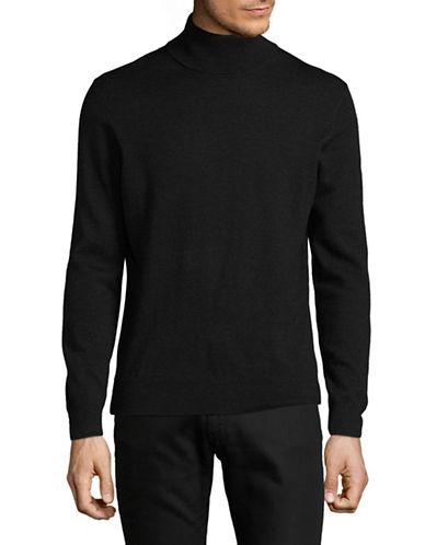 Black Brown 1826 Extrafine Merino Wool Mock Neck Sweater-CHARCOAL-Small