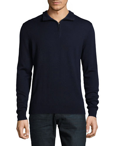 Black Brown 1826 Mock Neck Merino Wool Sweater-NAVY-Medium