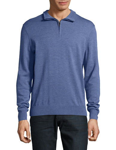Black Brown 1826 Mock Neck Merino Wool Sweater-COAST BLUE-Large