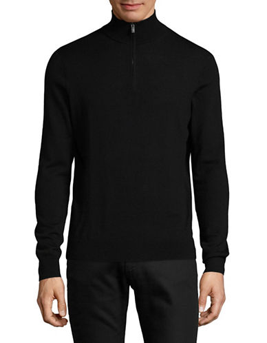 Black Brown 1826 Mock Neck Merino Wool Sweater-BLACK-Small