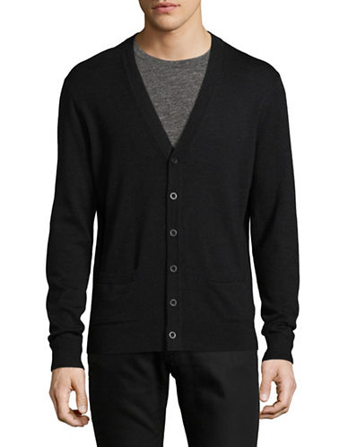 Black Brown 1826 Merino Wool Cardigan-CHARCOAL-Medium