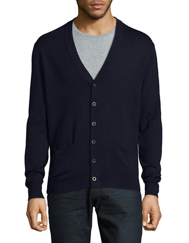 Black Brown 1826 Merino Wool Cardigan-NAVY-X-Large