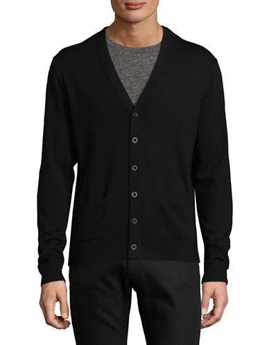 Black Brown 1826 Merino Wool Cardigan-BLACK-Large