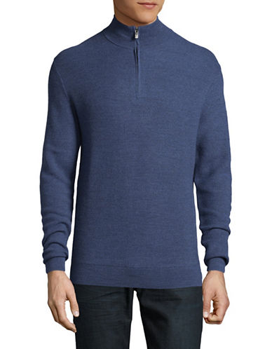 Black Brown 1826 Extrafine Merino Wool Tex Zip Sweater-BLUE-XX-Large