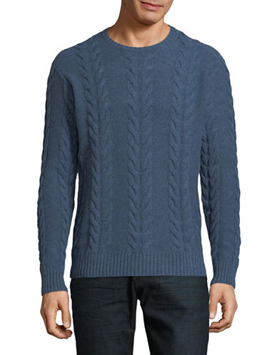 Black Brown 1826 Lambs Wool Cable Knit Sweater-DARK BLUE-XXX-Large