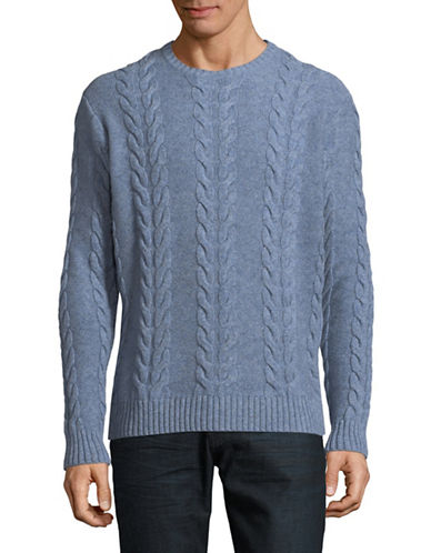 Black Brown 1826 Lambs Wool Cable Knit Sweater-PALE BLUE-Large
