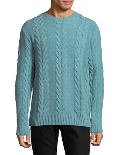 Black Brown 1826 Lambs Wool Cable Knit Sweater-BLUE-Medium