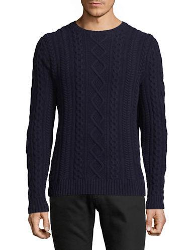 Black Brown 1826 Textured Wool Sweater-BLUE-XXX-Large