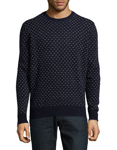 Black Brown 1826 Printed Wool Sweater-BLUE-Small