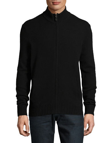 Black Brown 1826 Full Zip Lambswool Sweater-BLACK-X-Large