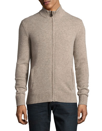 Black Brown 1826 Full Zip Lambswool Sweater-BEIGE-Large