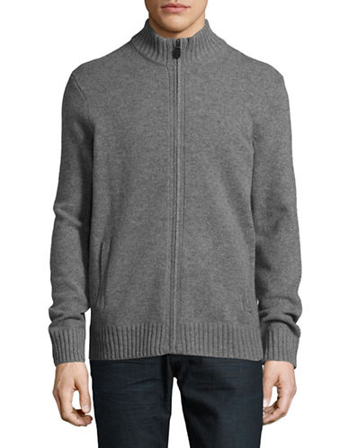 Black Brown 1826 Full Zip Lambswool Sweater-DARK GREY-Large
