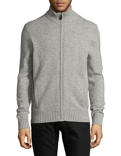 Black Brown 1826 Full Zip Lambswool Sweater-GREY-Large