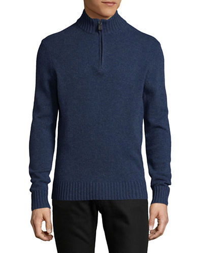 Black Brown 1826 Full Zip Lambswool Sweater-INDIGO-Small