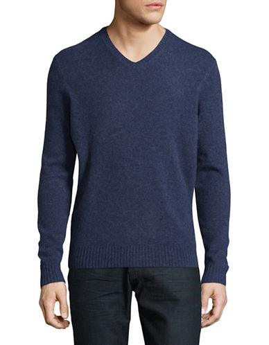 Black Brown 1826 V-Neck Lambswool Sweater-BLUE-Large