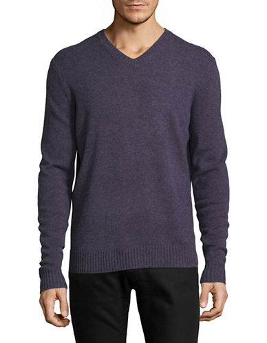 Black Brown 1826 V-Neck Lambswool Sweater-PURPLE-Small