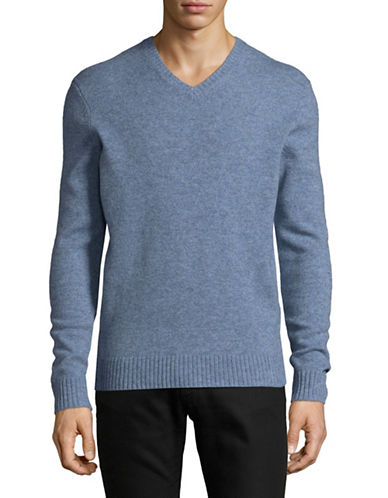 Black Brown 1826 V-Neck Lambswool Sweater-LIGHT BLUE-Small