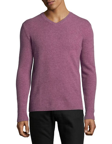 Black Brown 1826 V-Neck Lambswool Sweater-PINK-X-Large