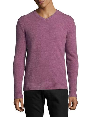 Black Brown 1826 V-Neck Lambswool Sweater-PINK-Medium