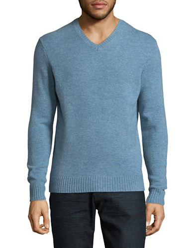 Black Brown 1826 V-Neck Lambswool Sweater-BLUE-Small