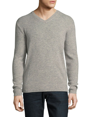 Black Brown 1826 V-Neck Lambswool Sweater-GREY-X-Large
