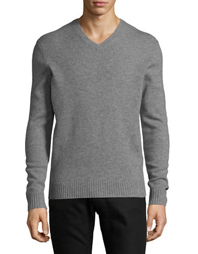 Black Brown 1826 V-Neck Lambswool Sweater-DARK GREY-Large