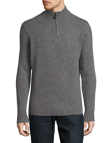 Black Brown 1826 Mock Neck Lambswool Sweater-DARK GREY-X-Large