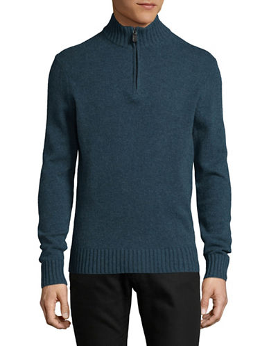 Black Brown 1826 Mock Neck Lambswool Sweater-TEAL-Large