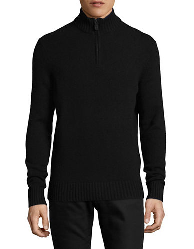 Black Brown 1826 Mock Neck Lambswool Sweater-BLACK-XXX-Large