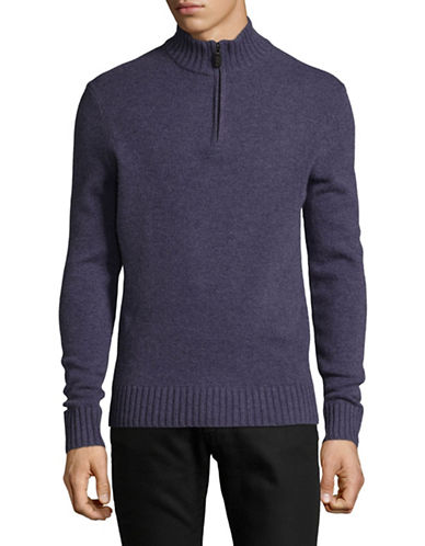 Black Brown 1826 Mock Neck Lambswool Sweater-PURPLE-XX-Large