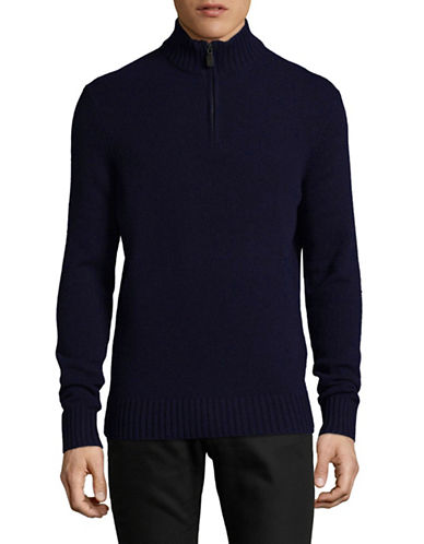 Black Brown 1826 Mock Neck Lambswool Sweater-NAVY-Large